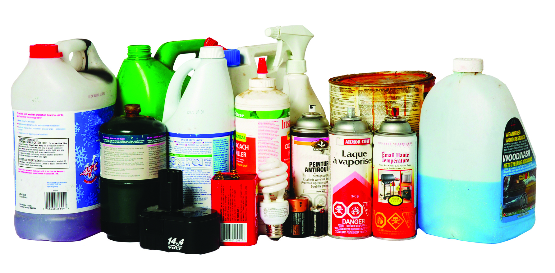 Assorted household waste items