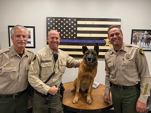 Retiring K9 officer DJ with other sheriff officers